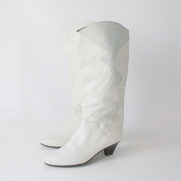 7f9d206dd Charles David Shoes - Vintage 80's Charles David White Slouch Boots 9
